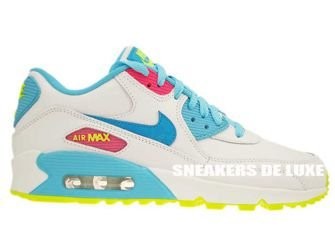 345017-123 Nike Air Max 90 White/Blue Lagoon-Volt-Clear Water