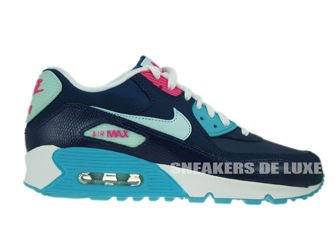 345017-400 Nike Air Max 90 Brave Blue/Teal Tint-Gamma Blue-Pink Flash
