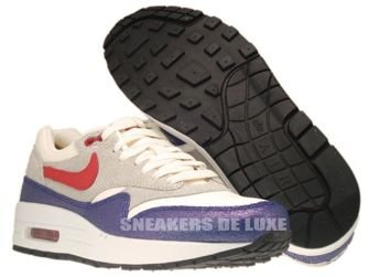 555284-100 Nike Air Max 1 Vintage Sail/Hyper Red–Street Grey–Blue Tint
