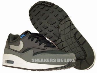 555766-002 Nike Air Max 1 Black/Metallic Silver-Photo Blue-Night Stadium