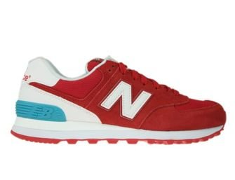 New Balance WL574CNC Red with White & Vivid Ozone Blue