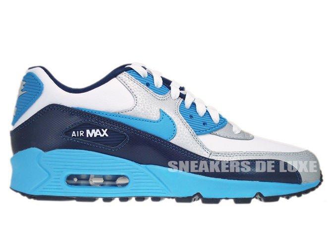 48ead306e7a06e 307793-155 Nike Air Max 90 White Vivid Blue-Obsidian-Metallic Silver ...