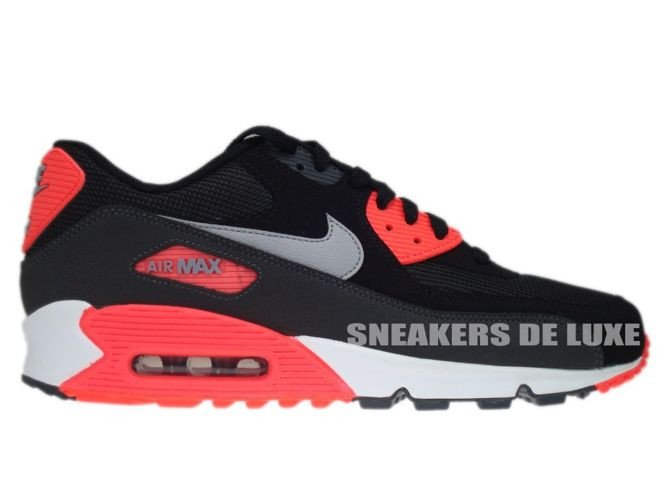 44df19c8cc46a 537384-006 Nike Air Max 90 Essential Black Wolf Grey-Atomic Red- ...