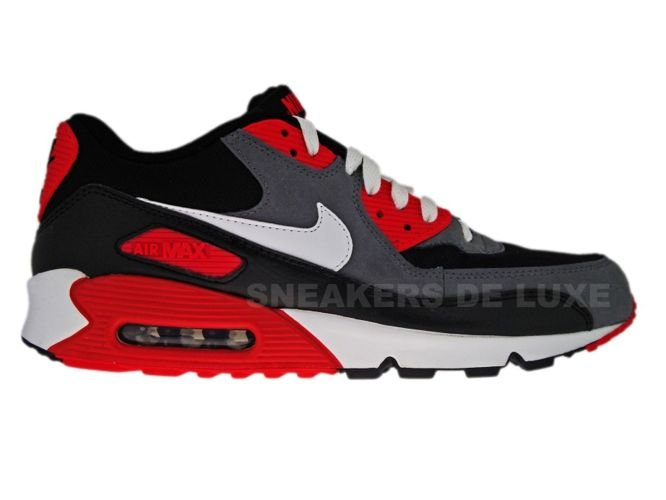 official photos 7a5ed c530c Nike Air Max 90 Black White-Flint Grey-Hot Red 345188-001 ...