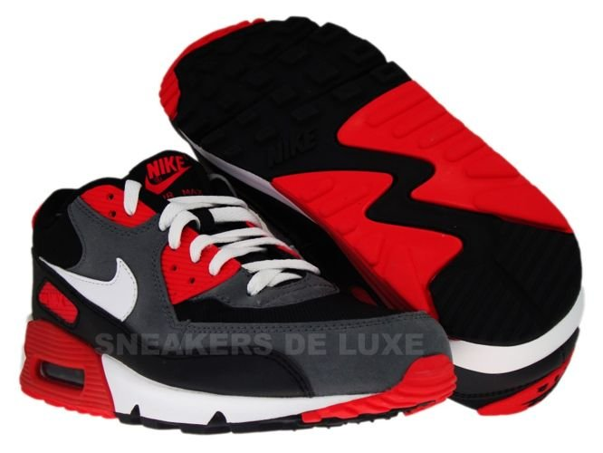 Shop Nike Air Max 90 Leather WhiteUniversity Red Black Pre