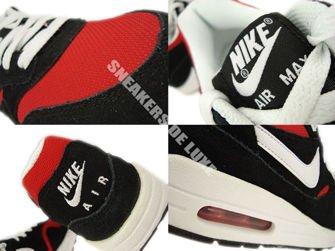 555766-004 Nike Air Max 1 Black / White-University Red-White