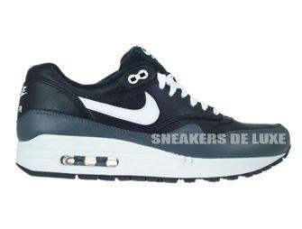 654466-001 Nike Air Max 1 Leather Balck/White-Dark Grey